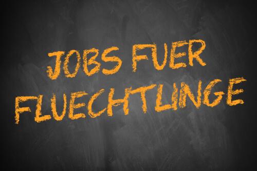 Jobs für Flüchtlinge - Schriftzug