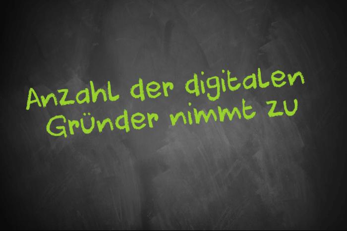 Tafelschrift beschrieben mit Zunahme der digitslen Gründer