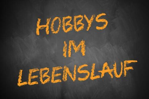 Hobbys im Lebenslauf - Schriftzug