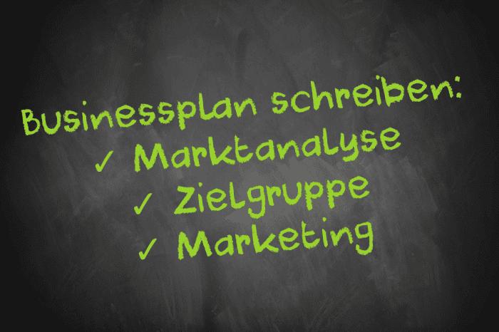 Tafelschrift: Businessplan schreiben: Marktanalyse, Zielgruppe, Marketing