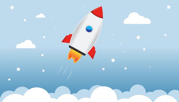 Rakete steigt steil auf
