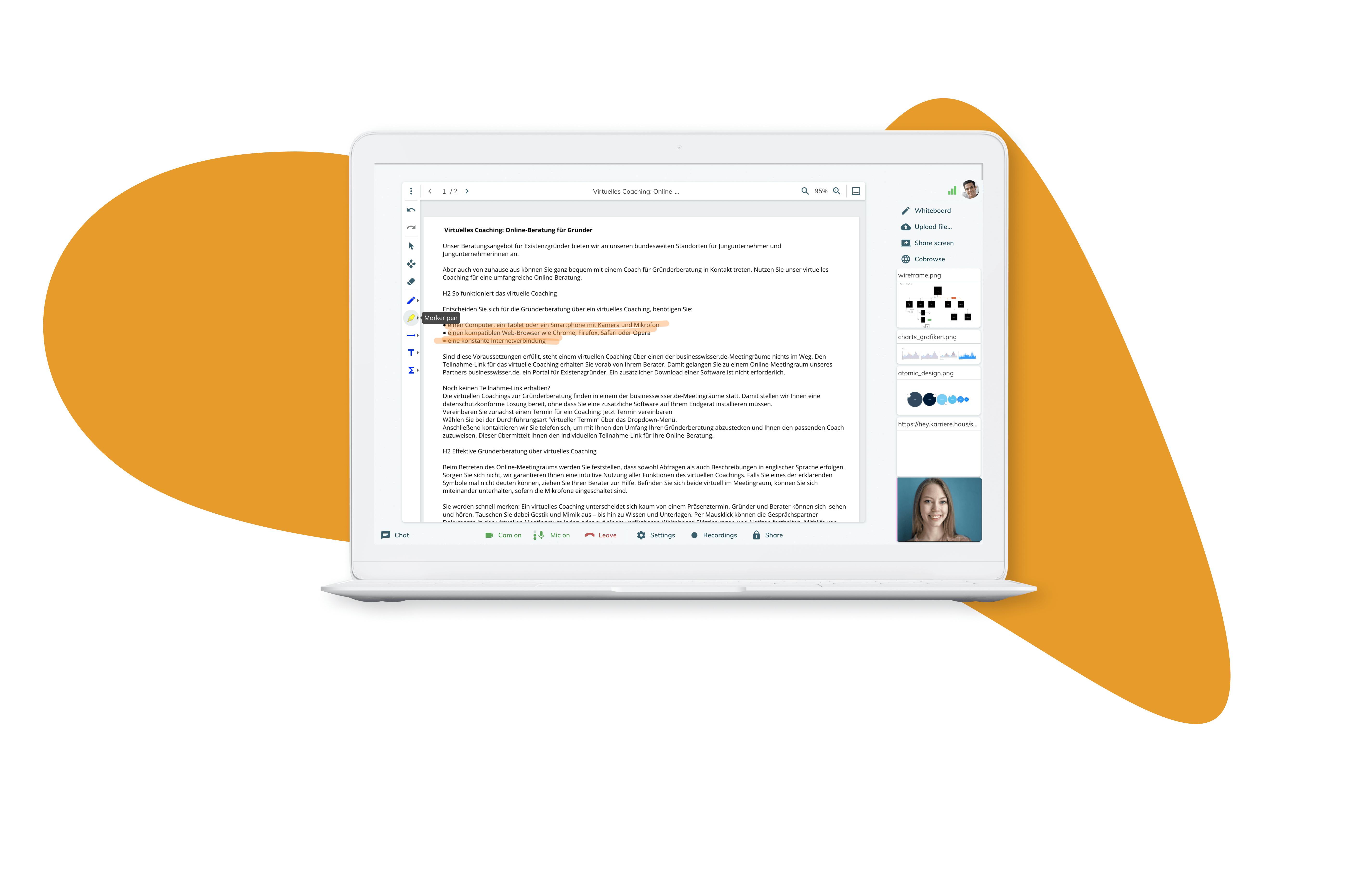 Dokumentieren oder protokollieren Sie Ihre Online-Beratung über das interaktive Whiteboard direkt im Meetingraum.