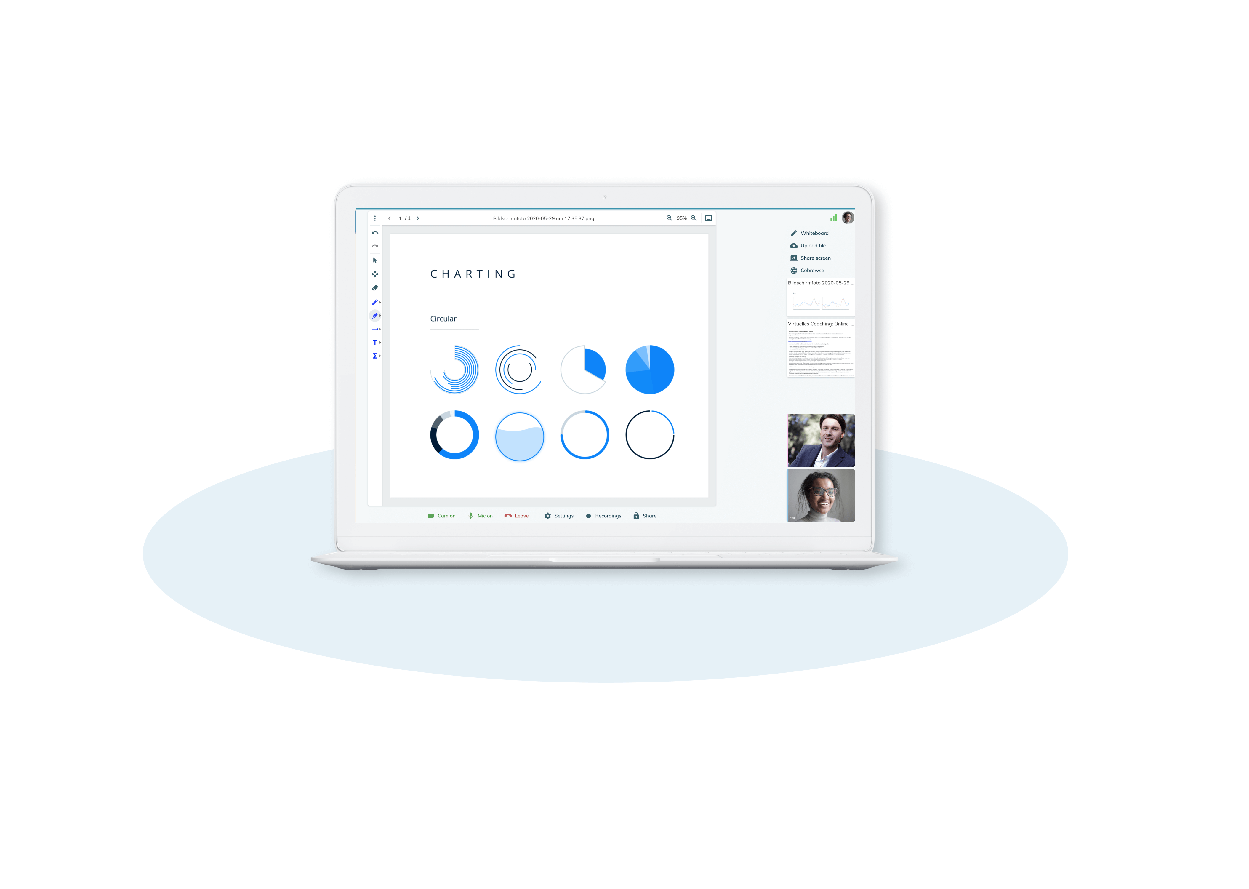 Nutzen Sie Whiteboard, Screensharing oder Cobrowsing für eine effektive Gründerberatung via Online-Meeting.